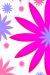Website background with pink and blue flowers over white.
