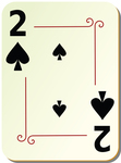 Illustration of black two of spades playing card.