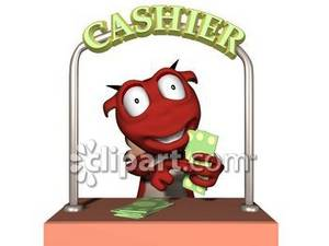 Dimensional Creature in a Cashier's Booth Royalty Free Clipart Image