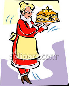 Clipart Picture of Mrs. Claus Holding a Christmas Cake