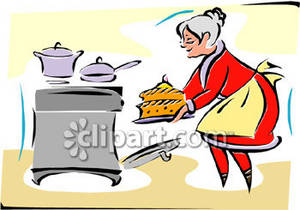 Mrs. Claus Baking a Cake