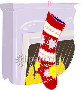 Christmas Stocking on a Mantle