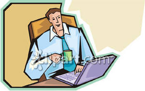 clipart picture of a man working at his laptop
