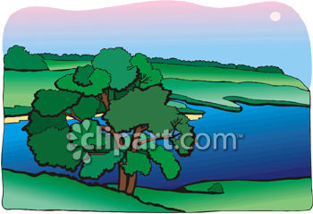 Lake with Grassy Slopes