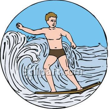 Clipart illustration of a surfer, a man, surfing on a wave.