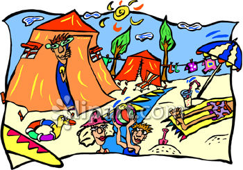 Cartoon Clipart Picture Of People Playing At The Beach