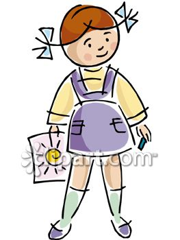 Clipart Picture of a LIttle Girl Holding a Sun Drawing