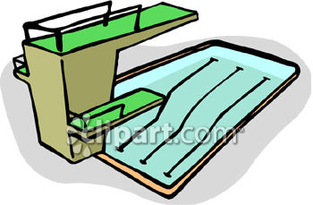 Clipart Picture of a Pool with High and Low Diving Boards