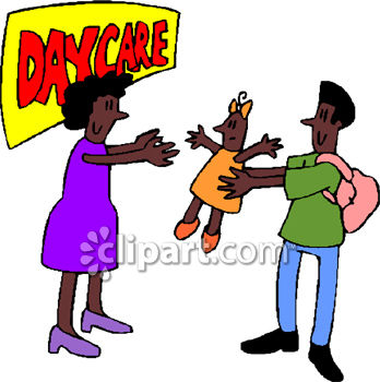 african american man taking his daughter to daycare royalty free rh clipartguide com child care center clipart child care clip art free