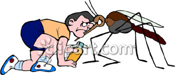 Man Fighting a Mosquito