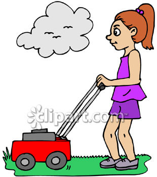 Girl Mowing the Lawn