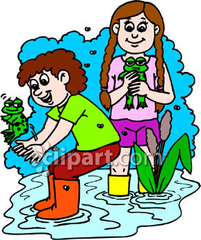 Boy and Girl Catching Frogs
