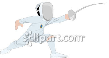 Man Fencing in a Lunge