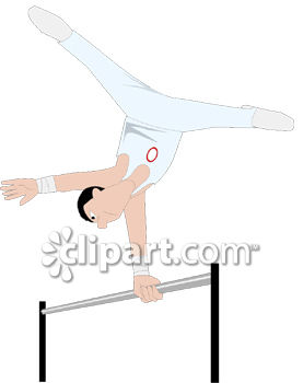 Male Gymnast Doing a Routine on a Parallel Bar