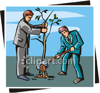 Two Men Planting a Tree