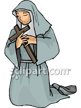 Nun Holding Cross and Praying While Kneeling
