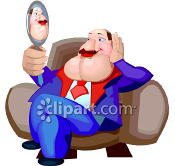 A Vain Man Admiring Himself in a Mirror - Royalty Free Clipart Picture