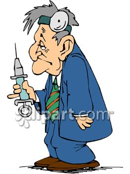 Cartoon of a Tired Looking Doctor with a Huge Hypodermic Needle