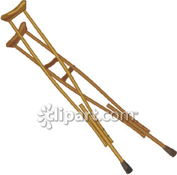 This clipart picture shows a pair of wooden crutches with black