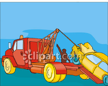 Clipart Picture of a Wrecked Car Being Loaded Onto a Tow Truck
