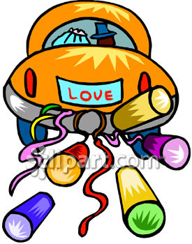Colorful Clipart Picture Of A Bride And Groom In Their Car Trailing Cans
