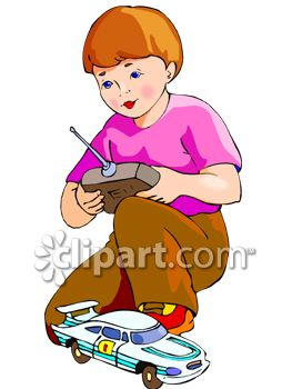 Clipart Picture Of A Boy Playing With A Remote Control Car