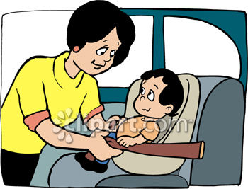 Clipart Picture Of A Mom Putting Her Baby Into Car Seat