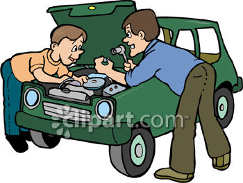 Father and Son Working on the Car