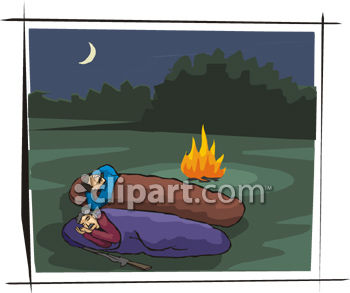 Two Men In Sleeping Bags in Front of a Campfire