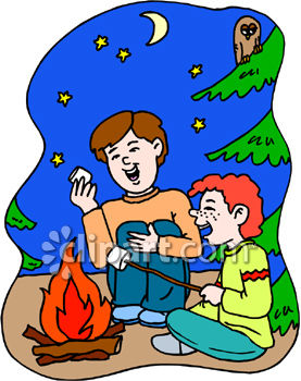 Two Boys Roasting Marshmellows on a Campfire, Laughing