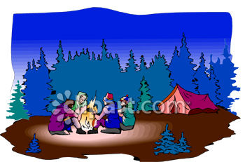 Group of Campers Sitting Around a Campfire at Night