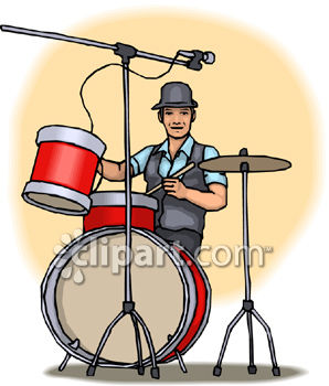 Guy Playing Drums Wearing a Hat