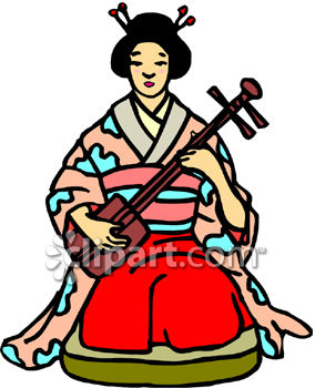 Japanese Woman Playing a Shamisen - Traditional Asian Stringed Instrument