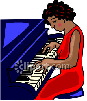 Pretty  Black Woman Playing the Piano