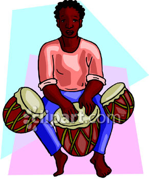 Ethnic African Man Playing Lap Drums - Royalty Free Clipart Picture