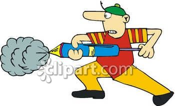 Man Using a Pump Sprayer to Exterminate Bugs Royalty Free Clipart Image
