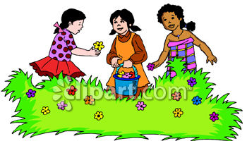 Three Little Girls Picking Flowers in a Garden