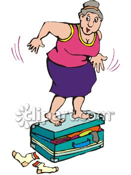 Fat Woman Jumping On Her Overfilled Suitcase Trying to Get It Closed
