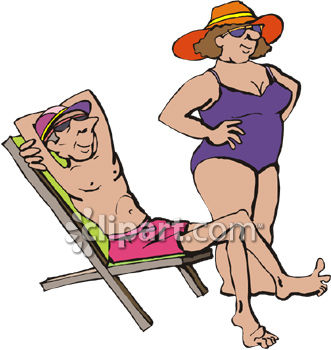 Skinny Man and Fat Woman Relaxing on the Beach While on Vacation