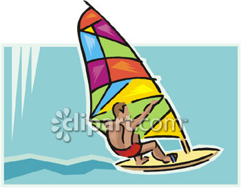 Young Man on a Brightly Colored Windsurfer