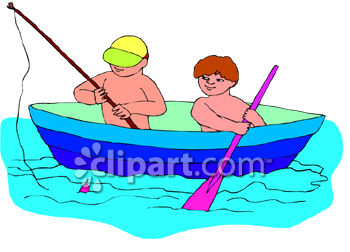 Two Little Boys Fishing From A Row Boat