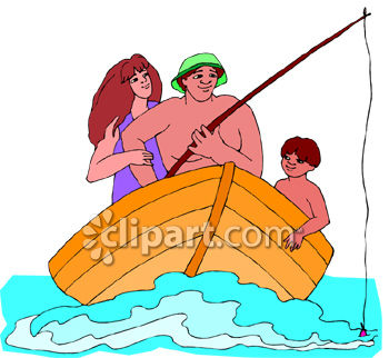 Mom, Dad and Son On a Fishing Trip In a Row Boat