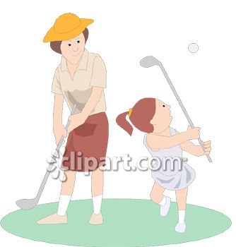 Girl and Her Mother Playing Golf