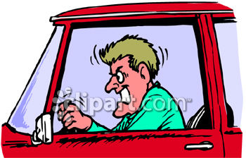 An Angry Man with Road Rage Clip Art Illustration Royalty Free Clipart Image