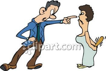 A Husband and Wife Fighting Royalty Free