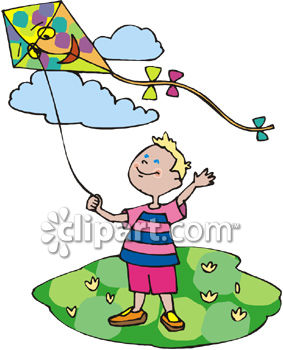 Little Boy Flying a Kite on a Sunny Spring Day