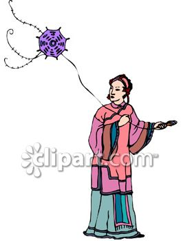 Chinese Woman Flying a Kite