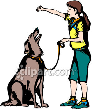 A Girl Training a Dog with Food