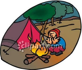 A Man Sitting by a Campfire