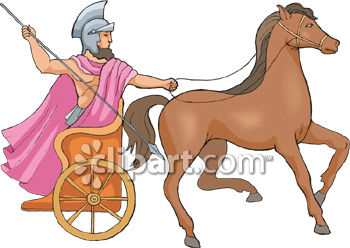 Horse Pulling a Man in a Chariot Race